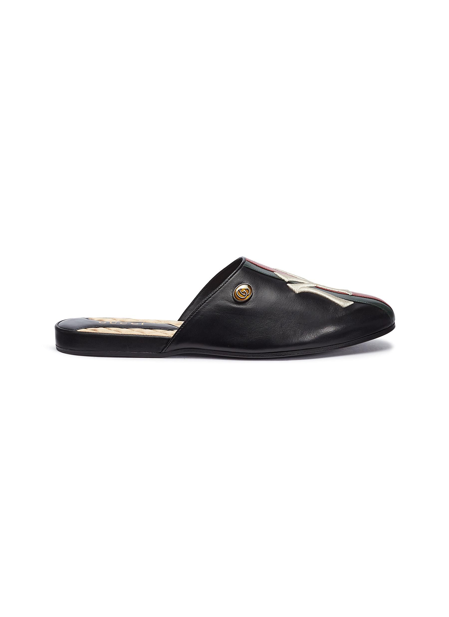 1ce258d99 GUCCI x Major League Baseball 'NY Yankees™' logo embroidered leather  slides. #