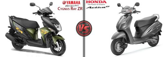 Yamaha Cygnus Ray Zr Vs Honda Activa 3g Honda Yamaha Honda