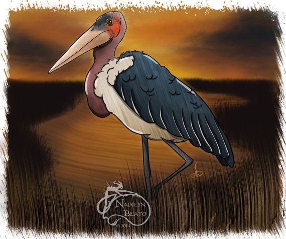 Marabou Stork Daily Creature by NadilynBeatosArt on Etsy, $10.00