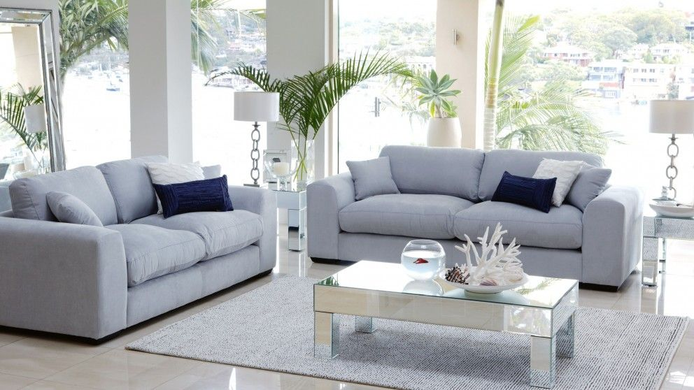 Catalina 2 piece fabric lounge suite lounges living for Outdoor furniture harvey norman