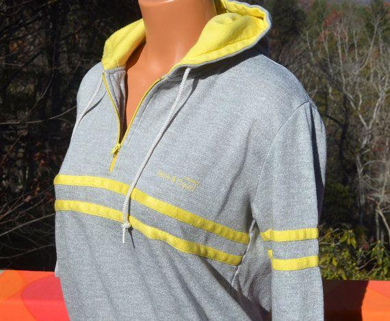 vintage 70s hoodie sweatshirt TRACK & COURT hoody heathered gray stripes zip henley women's Medium 80s by skippyhaha