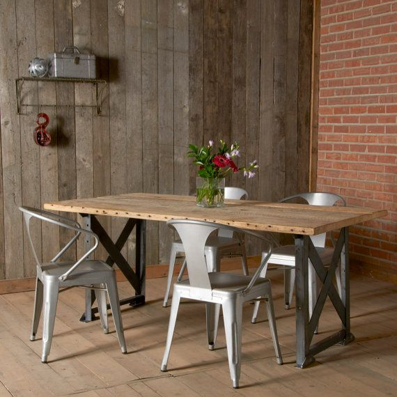 Modern Industrial Dining Table And X Styled Factory Steel Base 72