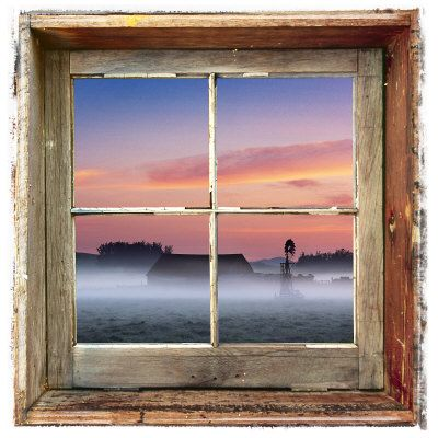 farmyard sunrise viewed through an old window frame photographie par diane miller sur allpostersfr