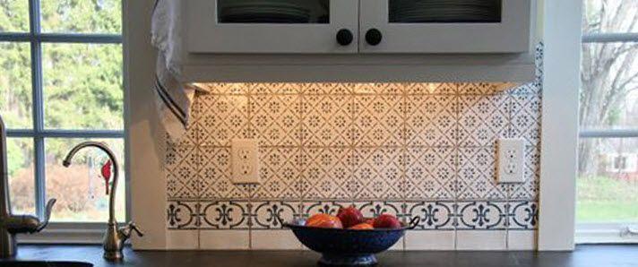Carrelage mural   en terre cuite   de cuisine   motif Victorien