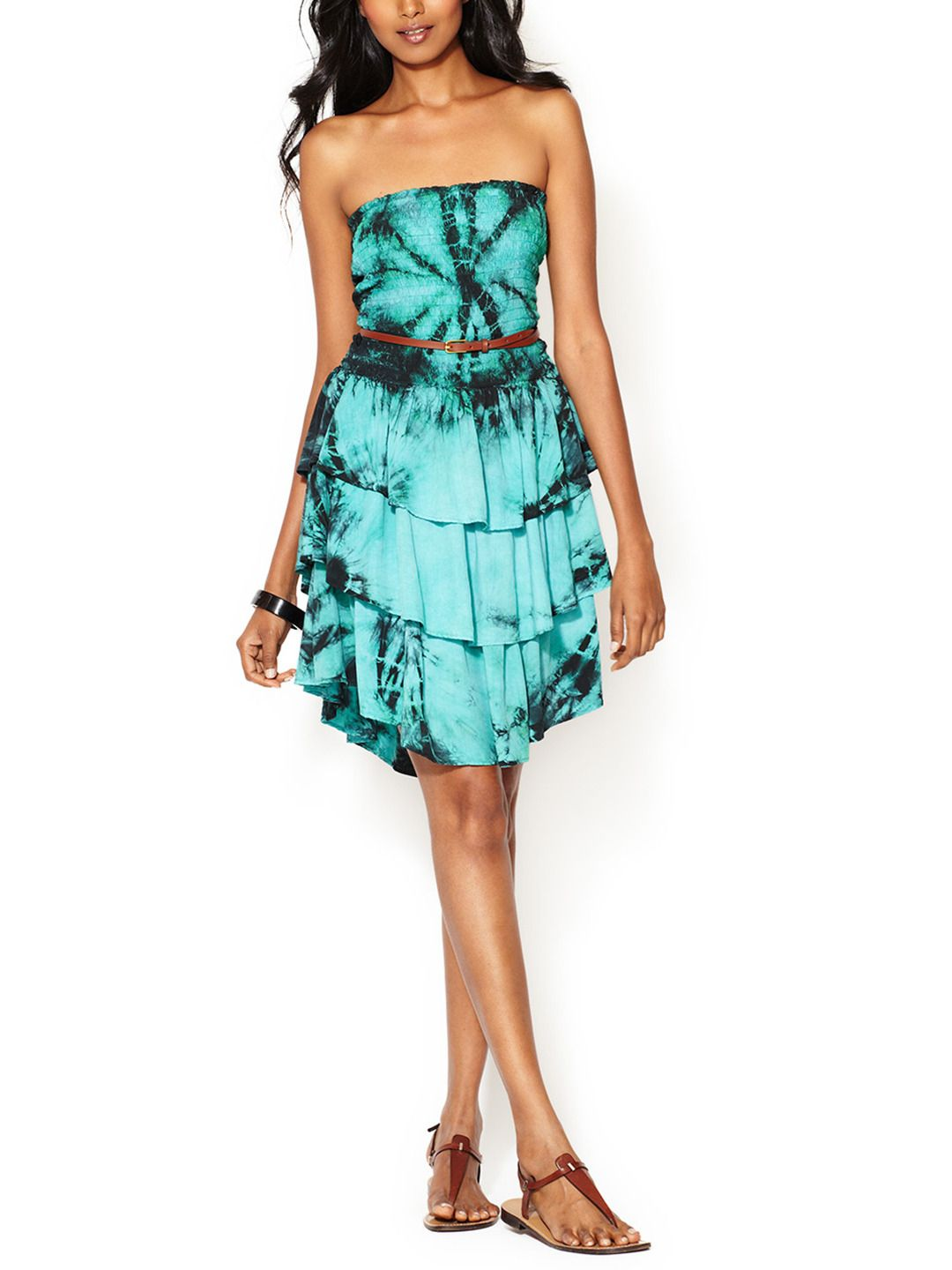 Printed Ruffle Strapless Dress From Spring Getaway Must Have Dresses On Gilt Strapless Ruffle Dress Clothes For Women Dresses [ 1440 x 1080 Pixel ]