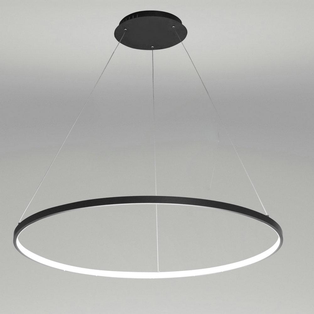 Design Led Pendelleuchte Modern Ring Design Schwarz im Wohnzimmer