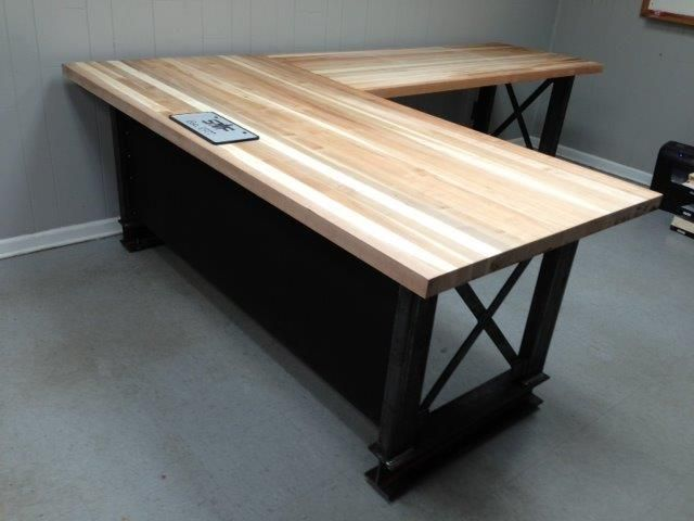 L Shape, Iron Crossbar And Oak Office Desk #metal #wood #furniture #