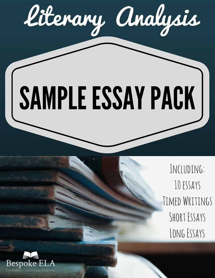 Sample Essay Pack For The Literary Analysis Essaythe Bespoke Ela