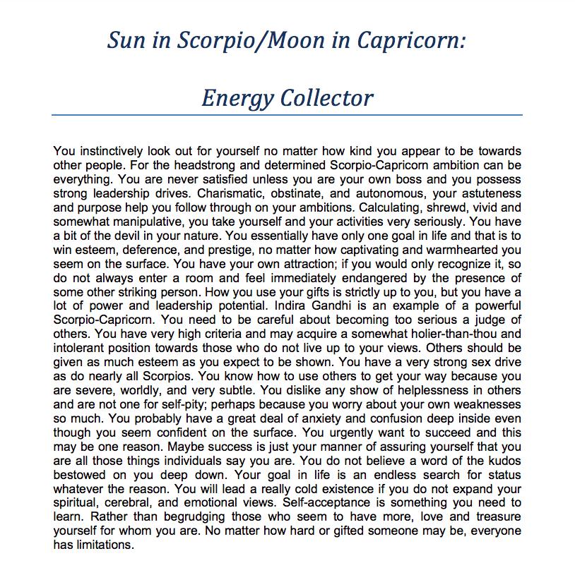 Scorpio Sun Capricorn Moon Energy Collector Sagittarius Moon Pisces Moon Gemini Sun Scorpio Moon