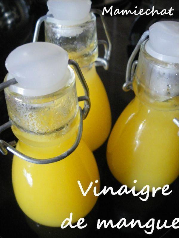 """Vinaigre de mangue 50 cl de vinaigre blanc 1 mangue PREPARATION Pelez et coupez 200 g de mangue en petits morceaux, Faites cuire la mangue avec 100 ml de vinaigre pendant 5 à 6 minutes, puis ajoutez le reste du vinaigre. Faites macérer le mélange dans un bocal en verre à fermeture hermétique, pendant 8jours. Au bout d'1 semaine, filtrez et mettez en bouteille. Le petit plus : J""""ai mixé rapidement le vinaigre avec le mixeur plongeant, avant de filtrer."""
