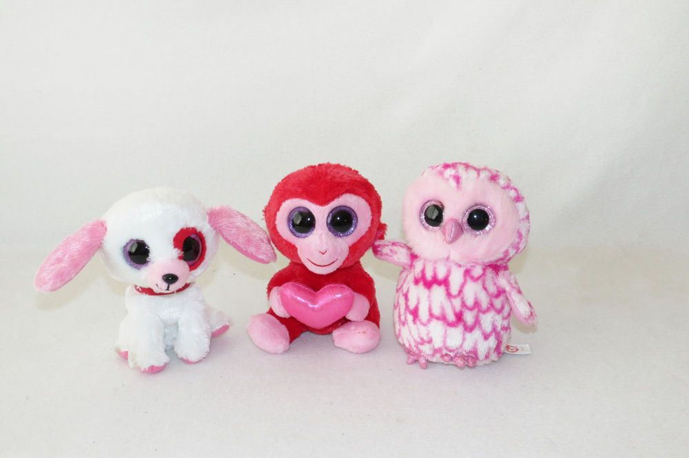 Ty Beanie Boos Charming Monkey Darlin Puppy Owl Valentine S Day