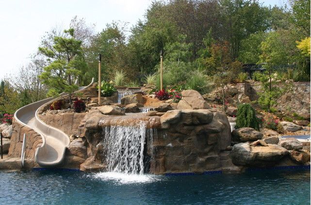swimming pools with waterfalls and slides - Swimming Pools With Waterfalls And Slide