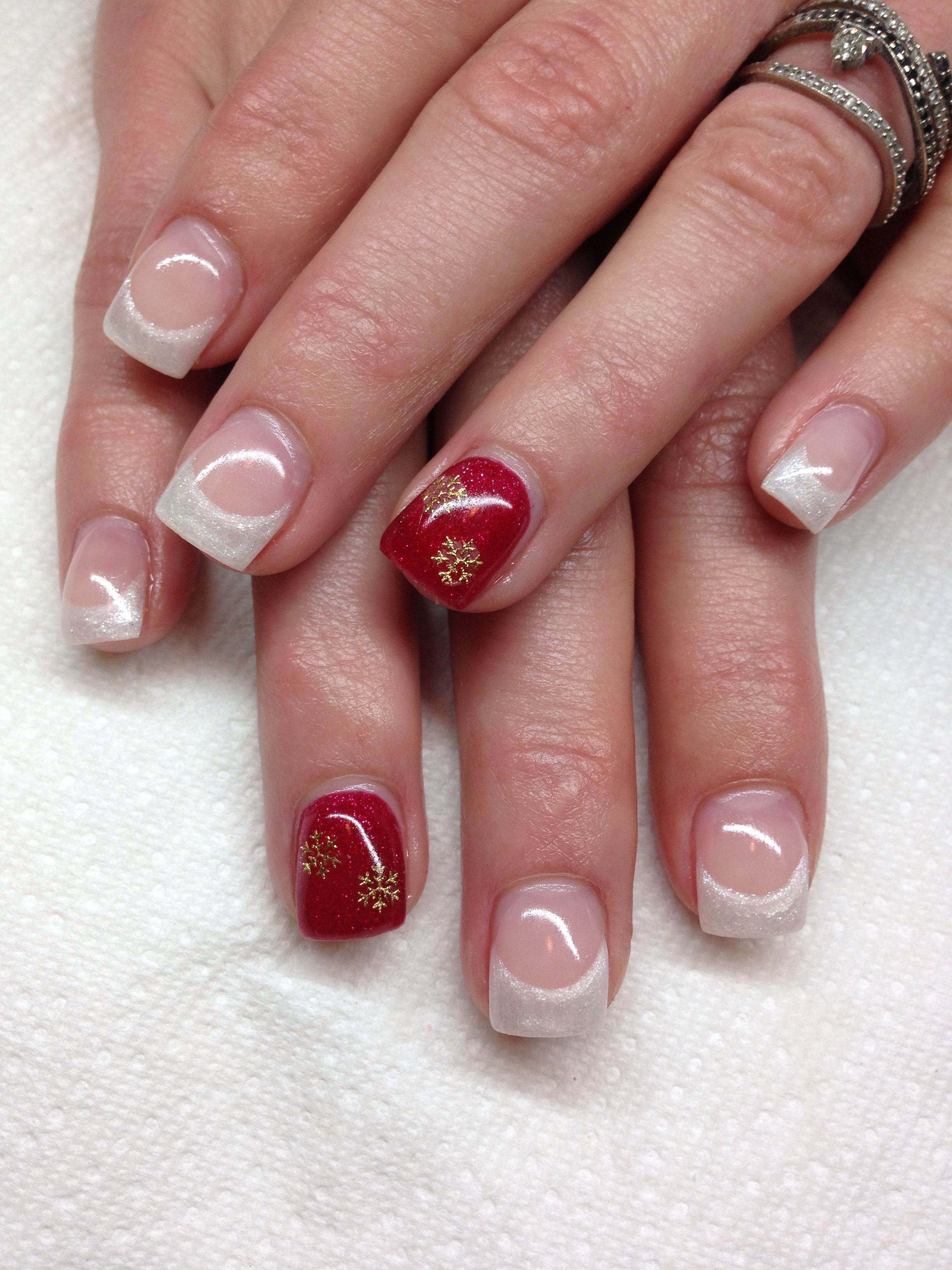 ♥ Holiday-Themed French Gel Nails with Accent Nails ♥ | nails ...