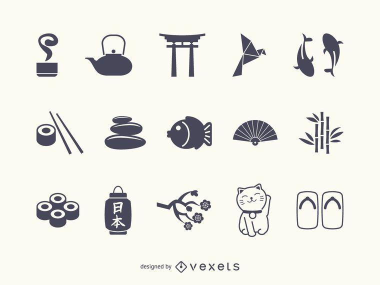 Japan Icon Silhouette Set Japan Icon Japanese Icons Japan Art Design