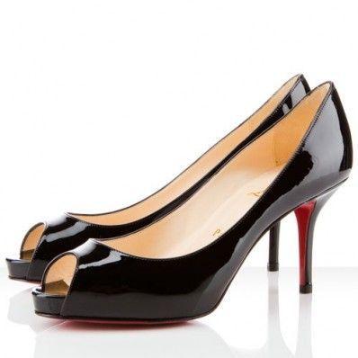 9c7150c24e04 Christian Louboutin Mater Claude 85mm Patent Leather Peep Toe Pumps Black