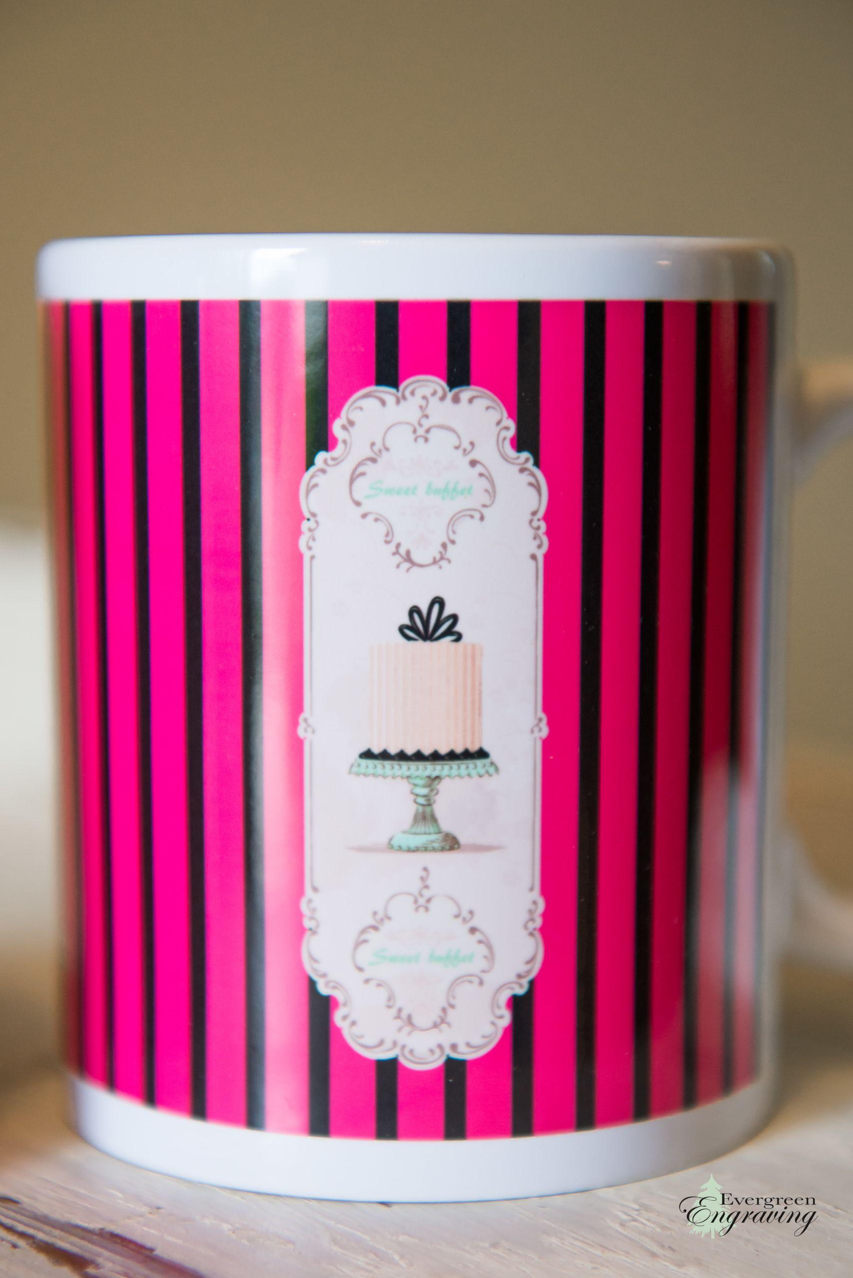 Pink French Pastry Coffee or Tea Ceramic Mug, 11 oz, Farm Table ...