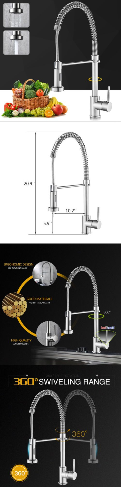 Brushed Nickel Kitchen Faucet Swivel Pull Out Sprayer Single Hole ...