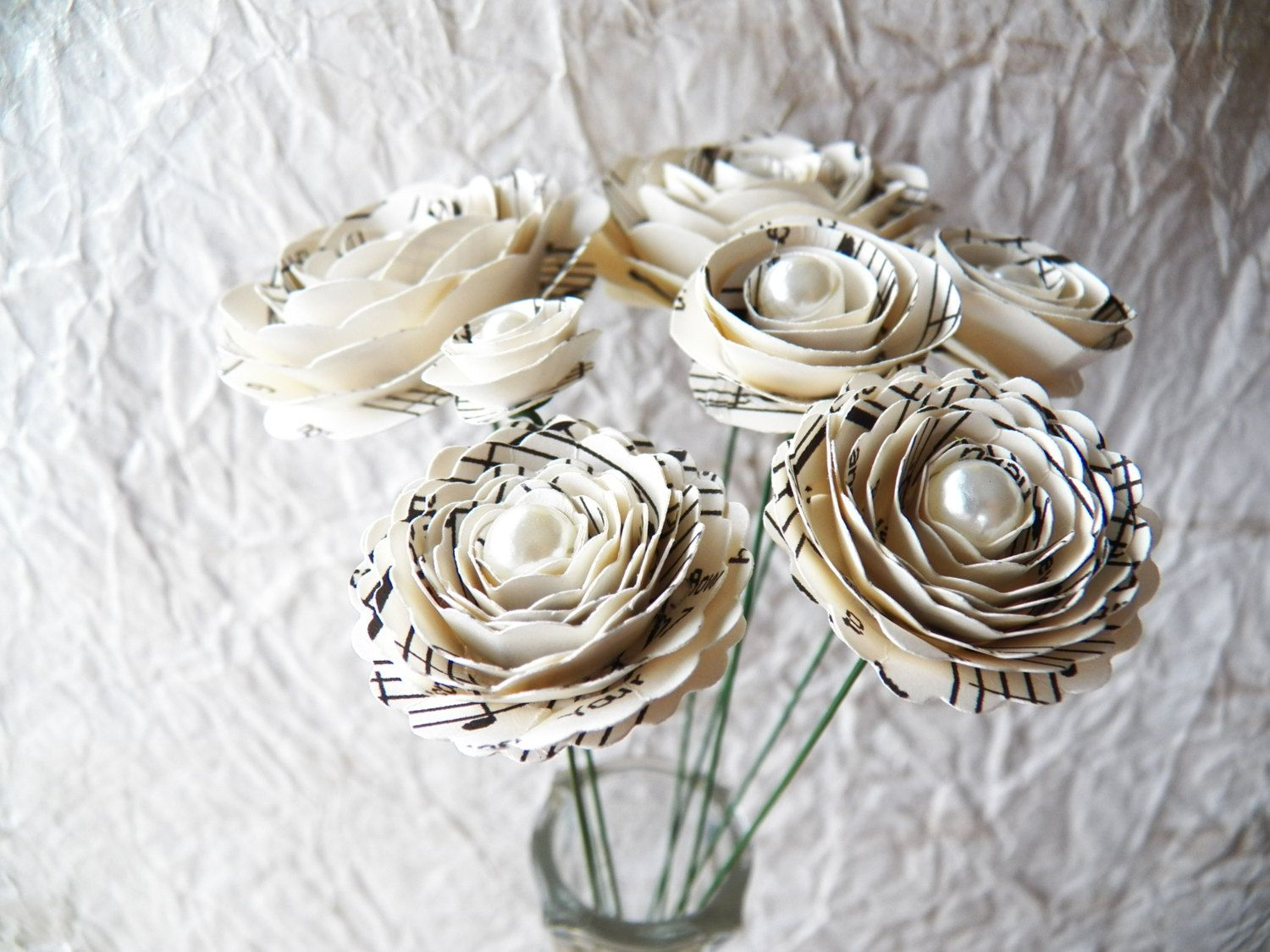 Music Note Stemmed Paper Flowers Via Etsy All About Music