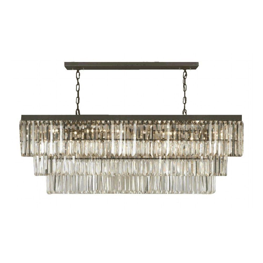 Rectangular Crystal Chandelier: Gallery Odeon Crystal Fringe 12-light Rectangular