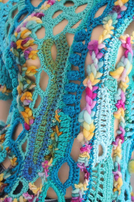 Hippie Boho Gypsy Rainbow Thick Freeform Crochet Sweater - Tunic -Wearable Art - OOAK Size M L #wearableart