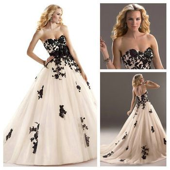 Corset Back Handmade Flowers Black Lace Wedding Dress Ball Gown Bridal 2013 Aliexpress 148 €