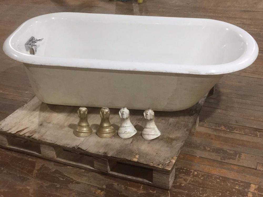 Details about 5ft Cast Iron Porcelain Clawfoot Tub Bathtub Vintage ...