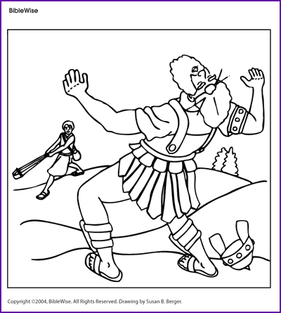 Coloring david and goliath kids korner biblewise for David and goliath coloring pages for preschoolers