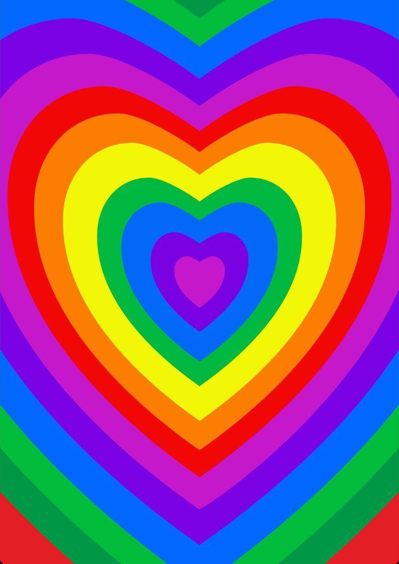 Rainbow Heart Hippie Wall Art