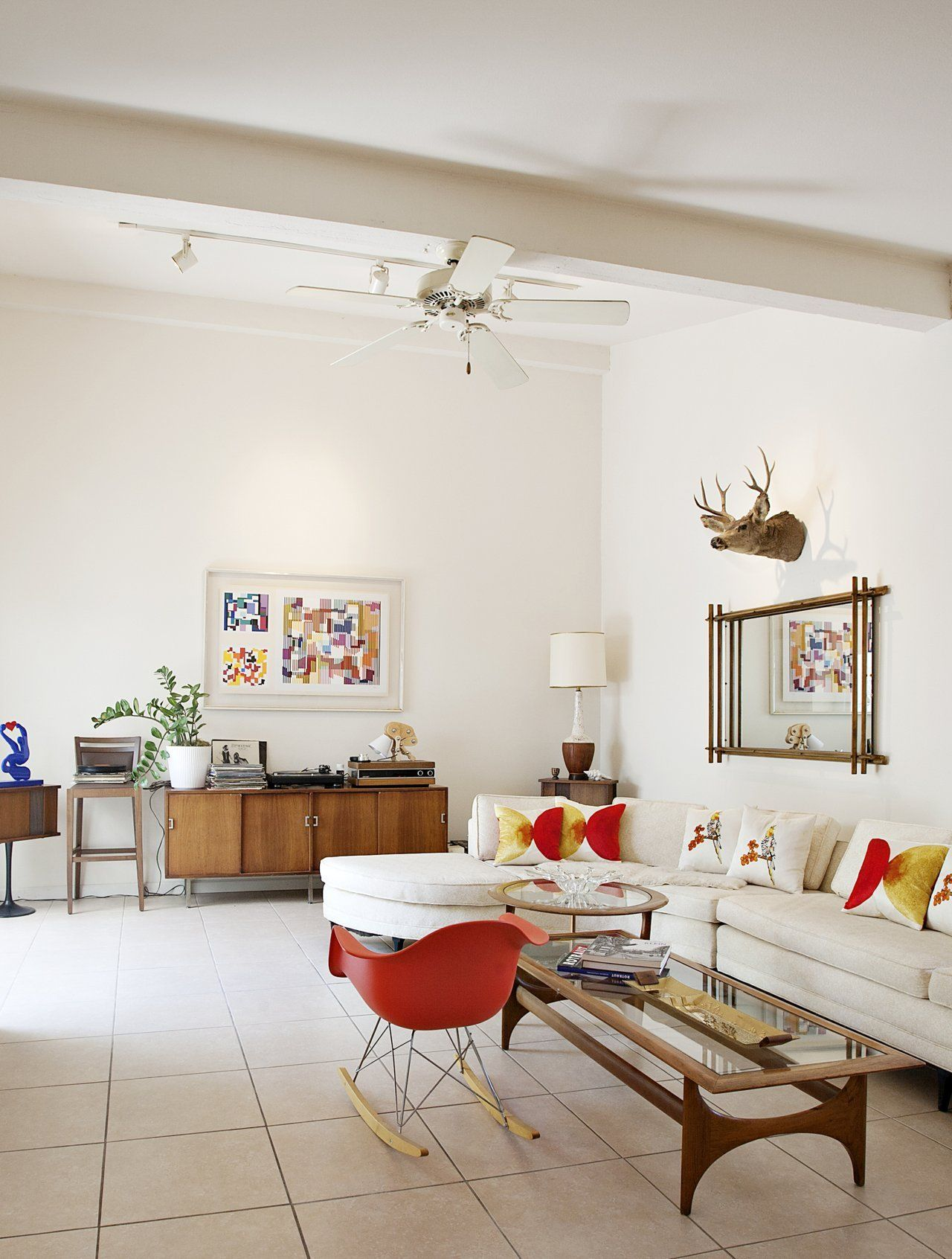 Townhouse Living Room Design: Bold Colors Meet Mid-Century In An Arizona Townhouse