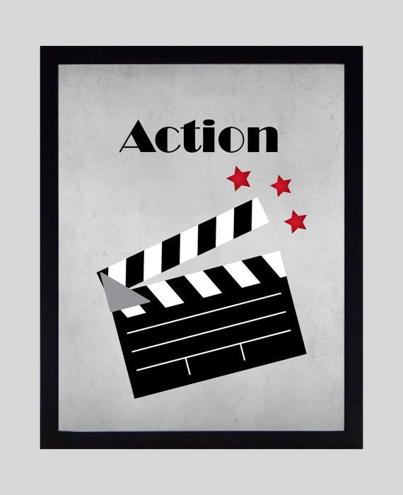 Home Theater Wall Decor action showtime popcorn movies home theater art prints, 8x10 or