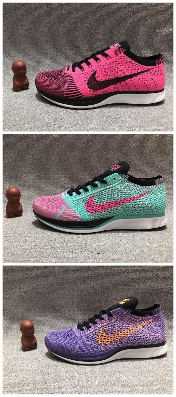b9e1f4041952 Cheap Nike Flyknit Racer Womens shoes Pearch Red BlackPink JadePurple  Orange Free Shipping