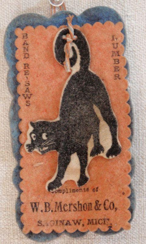 Vintage Black Cat Pen Wipe with advertising