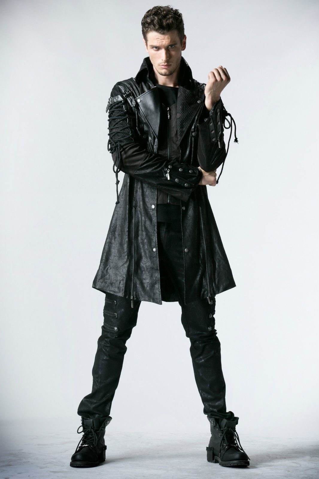 Diagonal zipper accent basic black long leather jacket