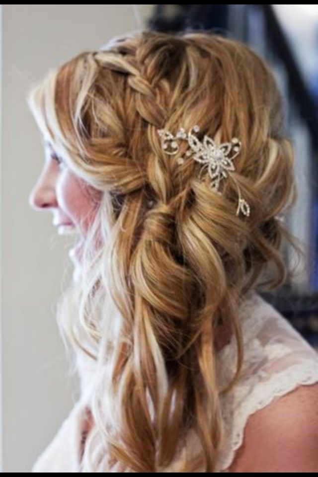 Wedding Hair Curls Side Swept With A Braid Wedding Hair