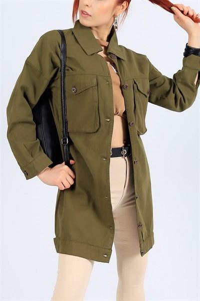 79 95 Tl Haki Gabardin Uzun Yazlik Bayan Ceket 27103b Modamizbir 2020 Moda Mankenler Kot Ceket