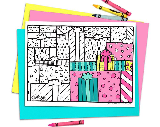 Birthday Party Printables Coloring Page Gift Pages Christmas Colooring Instant Download Adult Book