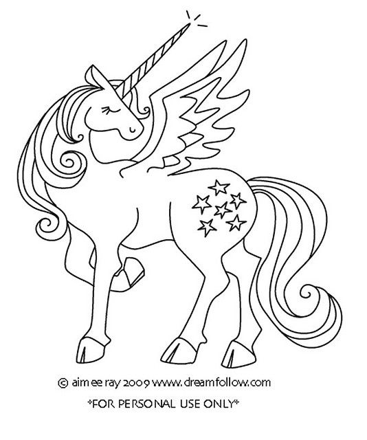 Winged Unicorn Unicorn Coloring Pages Embroidery Patterns