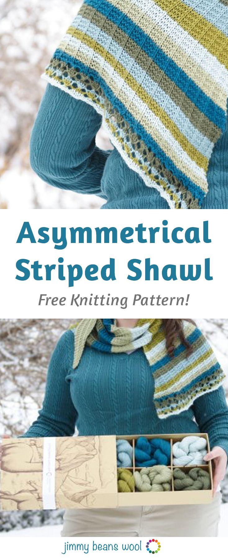 Asymmetrical Striped Shawl Free Knitting Pattern | Free Knitting ...