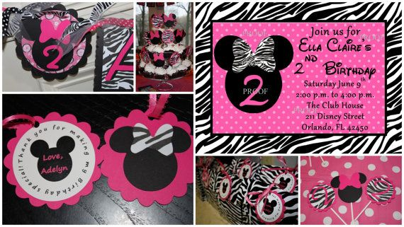 Minnie Mouse Name Banner Hot Pink Black and Zebra by SoCuteParties,