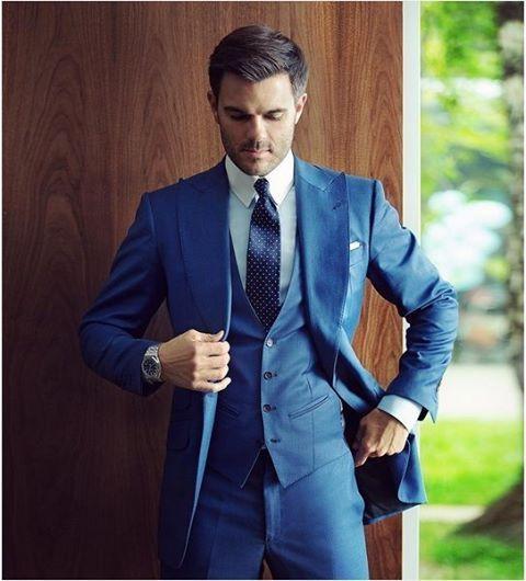 "suitfellas-losangeles: ""Nice 3 Piece Peak lapel Blue suit nicely ..."
