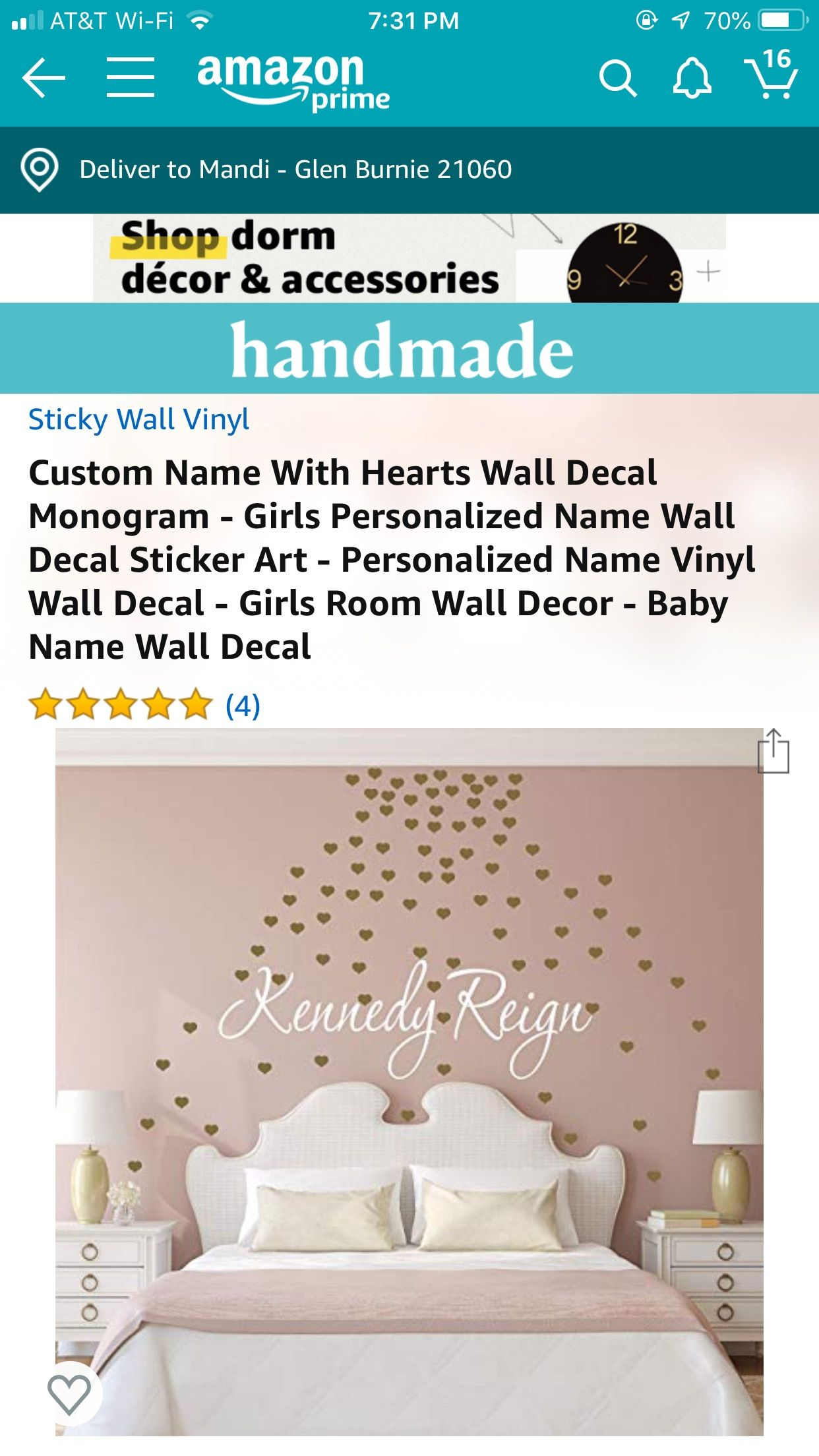 Pin By Mandi Bowling Jewer On Avery S Bedroom Heart Wall Decal Girls Room Wall Decor Name Wall Decals