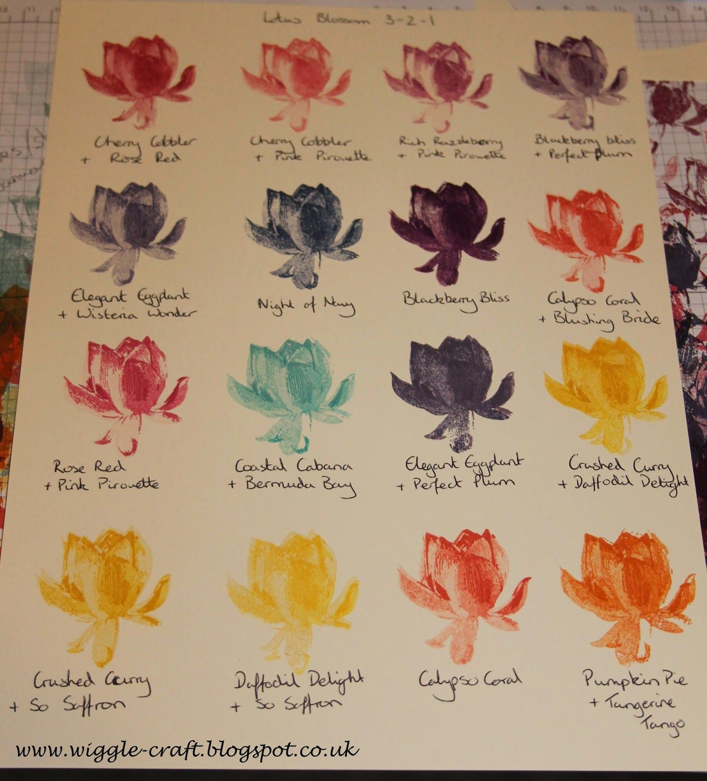 Stampin Up Lotus Blossom Colour Combinations In 3 2 1 Stamp Order