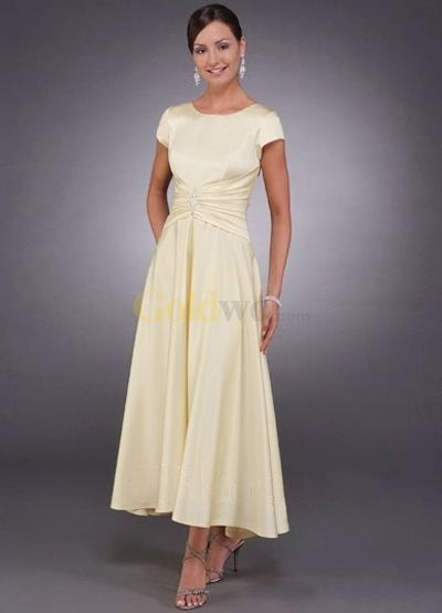 Short Sleeves Beaded Pin Tea Length Satin Mother Of Bride And Groom ...