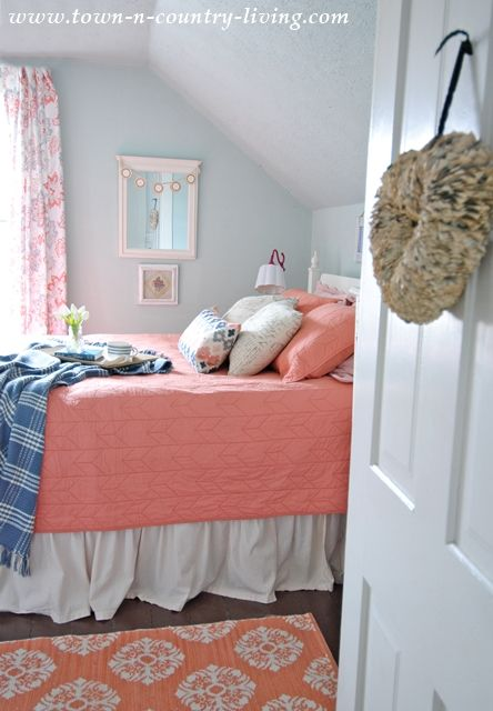 Coral Bedding in My Farmhouse Bedroom | Cabin fever, Coral bedding ...