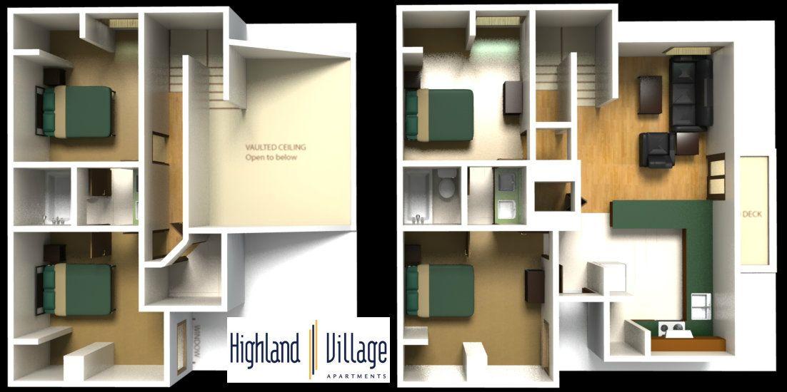 Village Apartments 4 Bedroom Floorplan