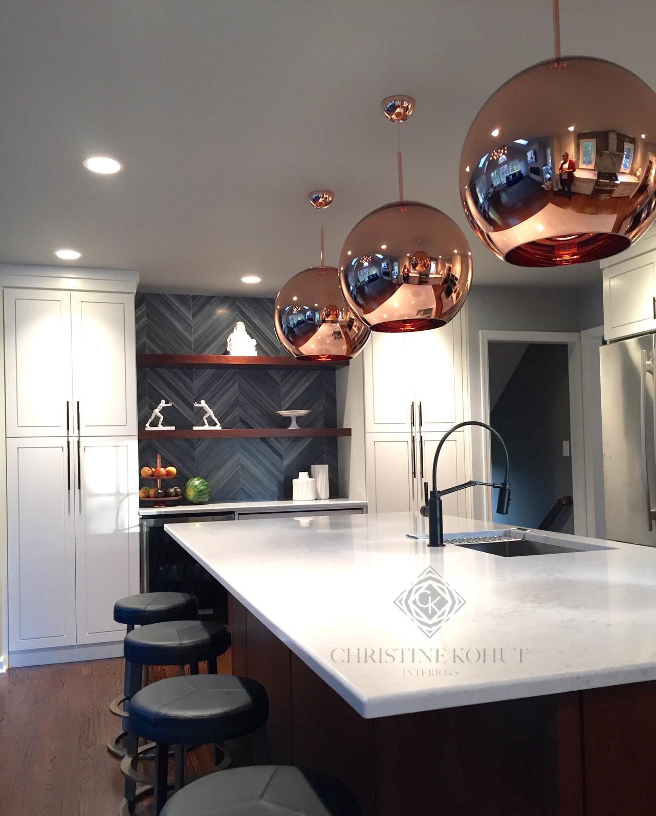 Christine Kohut Interiors Rose Gold Quartz Counters Marble Chevron Backsplash Interior Design Kitc Rose Gold Kitchen Kitchen Design Decor Gold Dining Room