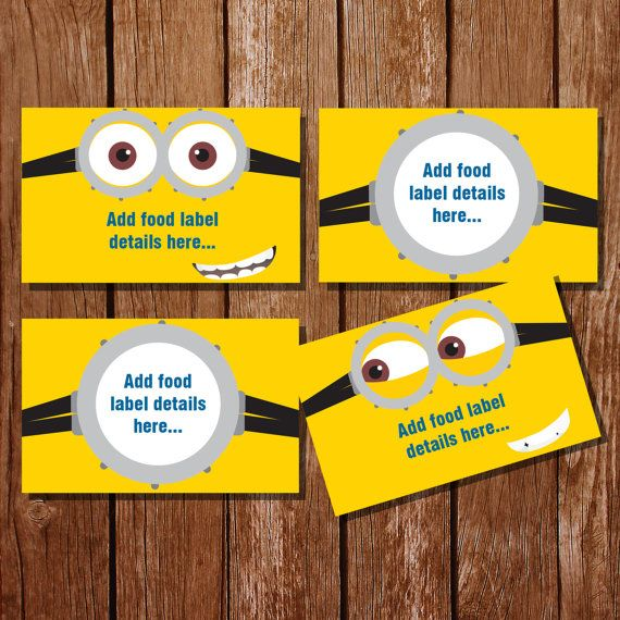 Minion Inspired Tent Cards Food Labels Buffet by