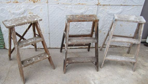 Mini Antique Wood Ladder With 3 Steps 23 Tall By Arusticgarden 22 95 Wooden Ladder Decor Wooden Ladder Wood Ladder