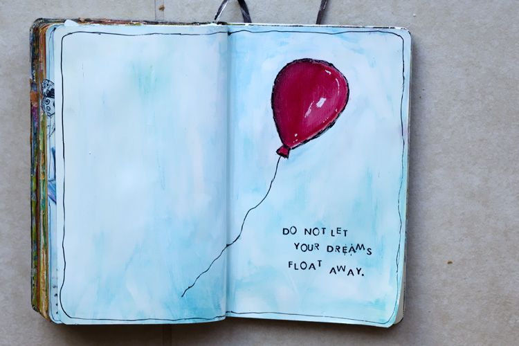 Art Journal red balloon float away dreams art journal sketch Watercolor