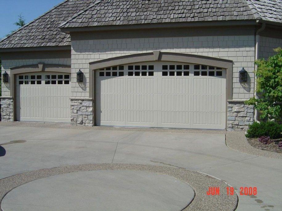 Grey Stone Houses With White Garage Door Door For